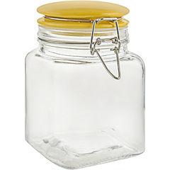 Frasco de vidrio 0,9 l con tapa cerámica amarilla