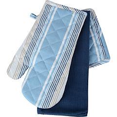 Set 3 Piezas Textil Rayas Azul
