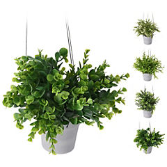 Colgante 25 cm de 3 plantas articifiales con macetero