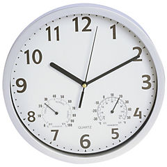 Reloj 25 cm blanco con termómetro y higrómetro
