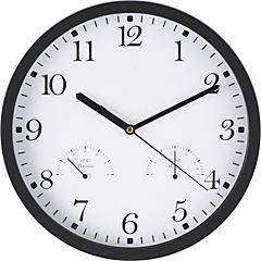 Reloj mural con termómetro y higrómetro 25 cm negro