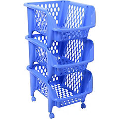 Carro verdulero 73x36,3x42 cm polipropileno 3 canastos Azul
