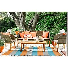 Juego living terraza 4 piezas madera eucalyptus/ratan pe