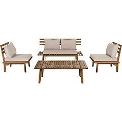 Juego living terraza 4 piezas madera ecualyptus
