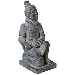 Figura de guerrero decorativa 53x25x24 cm poliresina gris