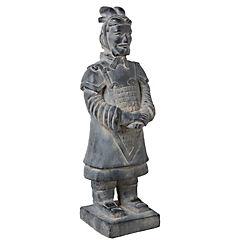 Figura de guerrero decorativa 60x19x18 cm poliresina dorado