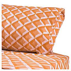 Juego de sábanas microfibra 1 plaza naranjo