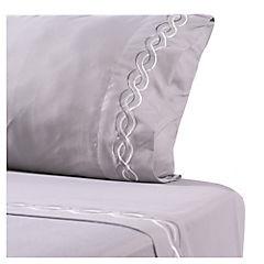 Juego de sábanas microfibra bordada Lazo 1,5 plazas gris