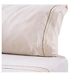 Juego de sábanas microfibra bordada Línea 1,5 plazas beige