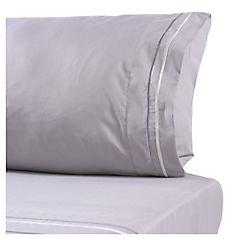 Juego de sábanas microfibra bordada Línea 1 plaza gris
