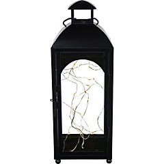 Farol decorativo con LED metal 38x14 cm negro