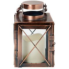 Farol cobre vela led 11,7x18,9 cm