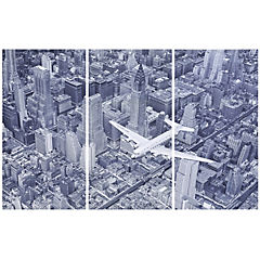 Set de canvas Avión DC-4 sobre Manhattan 100x150 cm