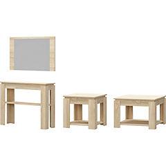 Set Bacco 2 mesa lateral + mesa centro + arrimo + espejo oak