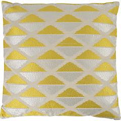 Cojín bordado amarillo y blanco 50x50 cm