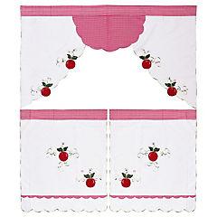 Set de cortinas para cocina Manzana 142x91 cm 3 paños rojo
