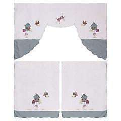 Set de 3 piezas cortinas  Casa Pájaros