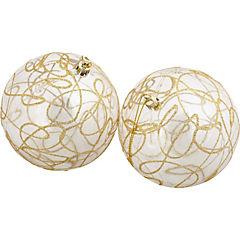 Set 2 esferas 10 cm lineas doradas