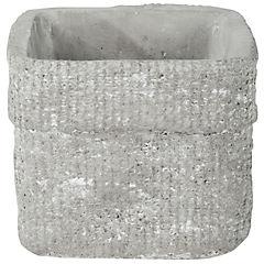 Macetero de cerámica 14x14x12 cm gris