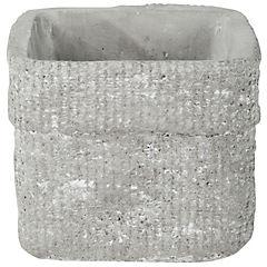 Macetero de cerámica 12x12x10 cm gris
