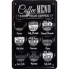 Lamina metálica Coffee Menú 20x30 cm