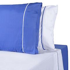 Juego de sábanas microfibra 2 plazas blanco azul