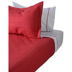 Quilt+sabanas rojo y gris 1,5 plazas