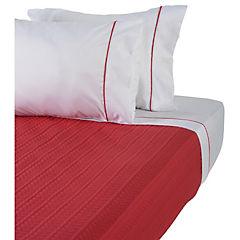 Quilt+sabanas rojo y gris 2 plazas