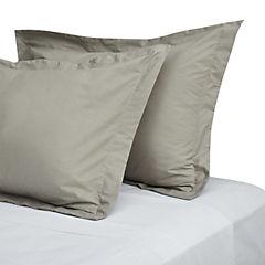 Funda de almohada taupe 180 hilos 50x90 cm