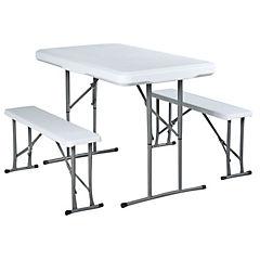 Kit de mesa + banquetas plegable tipo maleta 3 piezas