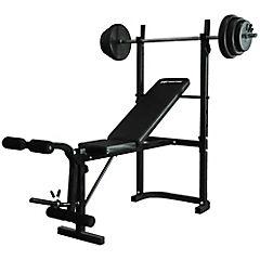 Banco de ejercicios con barra y pesas negro