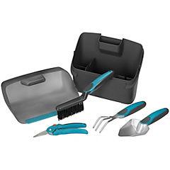 Kit de herramientas de jardín + caja transportadora Gris