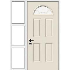 Puerta acero 80x200 cm 1/2 luna con mampara 50x200 cm derecha