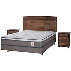 Box spring base normal 2 plazas con respaldo y velador