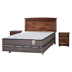 Box Spring 2 Plazas Base Dividida + Muebles Veneto