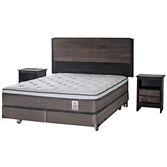 Box Spring 2 Plazas Base Dividida + Muebles Karl