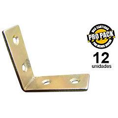 Propack 12 unidades escuadras sillas zincadas 1 1/2 pulgadas
