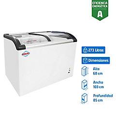 Congelador industrial horizontal frío directo 273 litros blanco