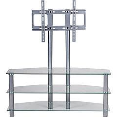 Rack tv vidrio con soporte gris