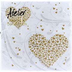 Servilletas 33x33 cm Golden Hearts