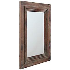 Espejo madera envejecida gris negro 65x90 cm
