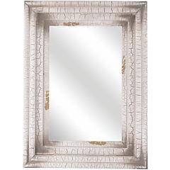 Espejo madera terminación craquelada blanco 60x80 cm