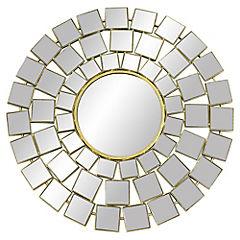 Espejo redondo metálico dorado 76 cm