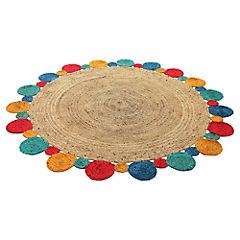 Alfombra yute Circular multicolor 200 cm