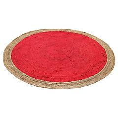 Alfombra yute Circular rojo y natural 200 cm