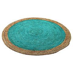 Alfombra yute Circular verde y natural 200 cm