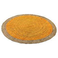 Alfombra yute Circular amarillo y natural 200 cm