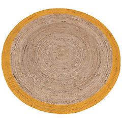 Alfombra yute Anillo amarillo y natural 200 cm