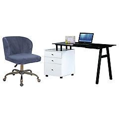 Combo Escritorio 150x80x76 cm + Silla PC Dante azul