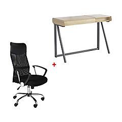 Combo escritorio + silla pc malla